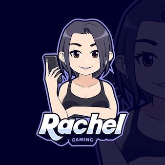 모바일 게임 로고 만화에 귀여운 섹시한 e스포츠 게이머 소녀