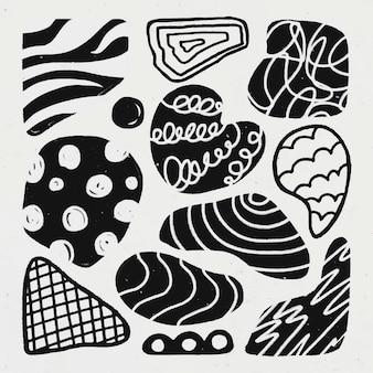 Adesivo di forma carina, trama di gesso astratto nel set di vettore di disegno di doodle
