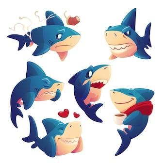 Cute shark cartoon character set
