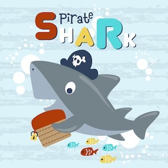 Cute shark cartoon the funny pirate