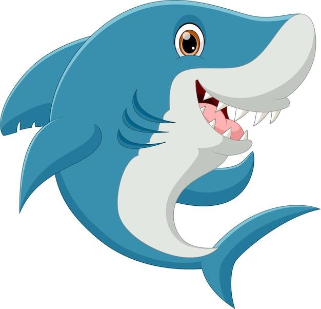 Милый мультфильм акула позирует и улыбается