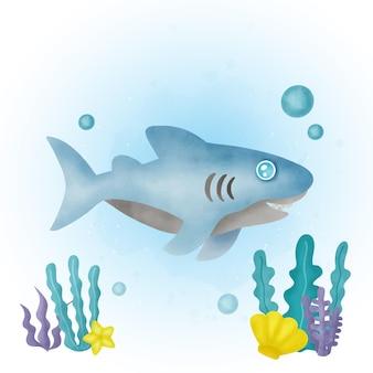 귀여운 상어 만화 수채화.