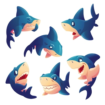 Cute shark character with different emotions isolated on white background. vector set of cartoon mascot, fish with teeth smiling, angry, hungry, sad and surprised. creative emoji set, animal chatbot
