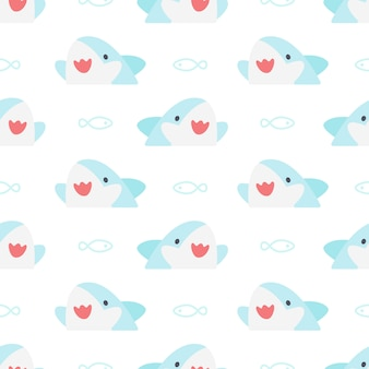 Cute shark and fish seamless pattern background