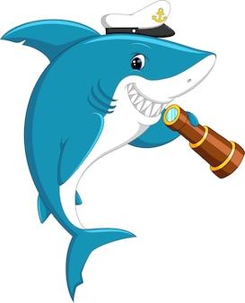 Симпатичная акула, держащая бинокль
