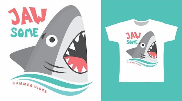 귀여운 상어 턱 일부 tshirt 디자인