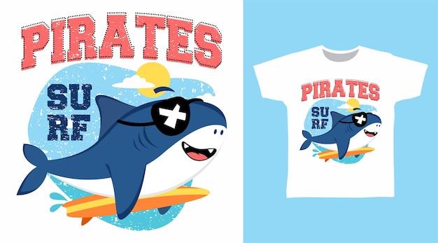 귀여운 상어 해적 티셔츠 디자인