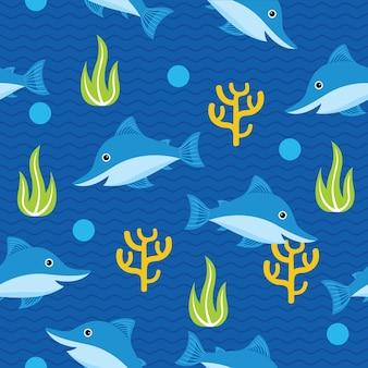 Cute shark seamless pattern in flat design style