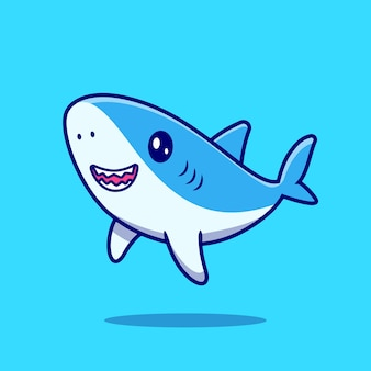 Cute shark swimming cartoon icon illustration.