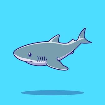 かわいいサメの水泳イラスト。サメのマスコット漫画のキャラクター動物アイコンの概念が分離されました。