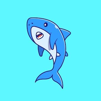 Симпатичные акулы плавание иллюстрации. акула талисман персонажей из мультфильма животных значок концепции изолированы.