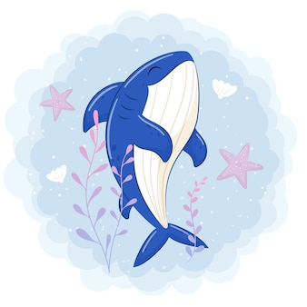 Cute shark swimming in the sea cartoon illustration