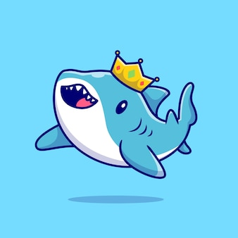Cute shark swimming with crown
