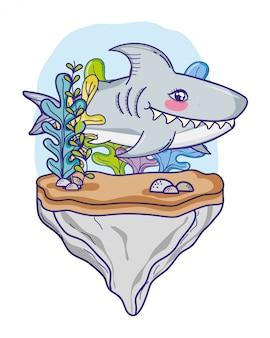 Cute shark tropical fish in the sea
