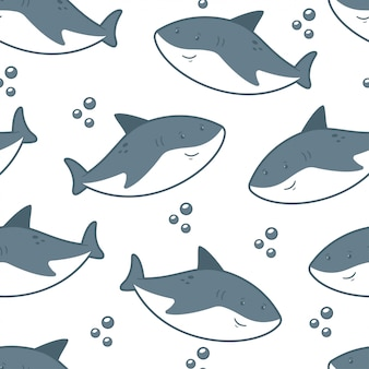 Cute shark vector seamless pattern