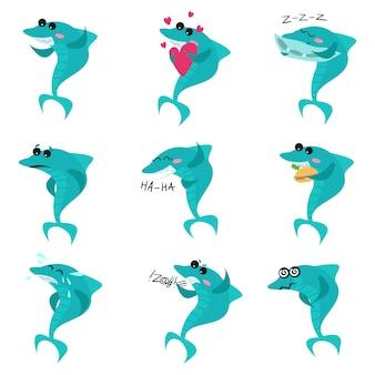 Набор персонажей мультяшных акул, забавных рыб в разных позах, показывающих разные эмоции. иллюстрации