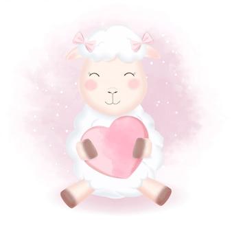 Милые овцы и сердце рисованной иллюстрации