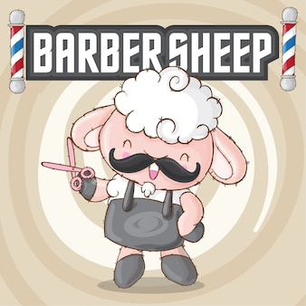 Cute sheep animal barbershop