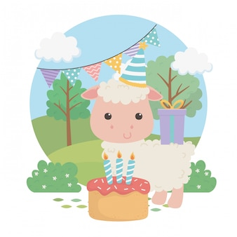 Cute sheep animal farm in birthday party scene