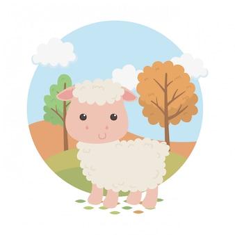 Милый овечий персонаж животноводческой фермы