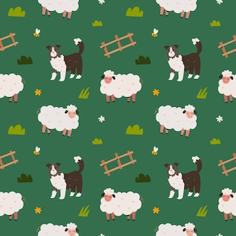 Cute sheep and border collie dog seamless pattern