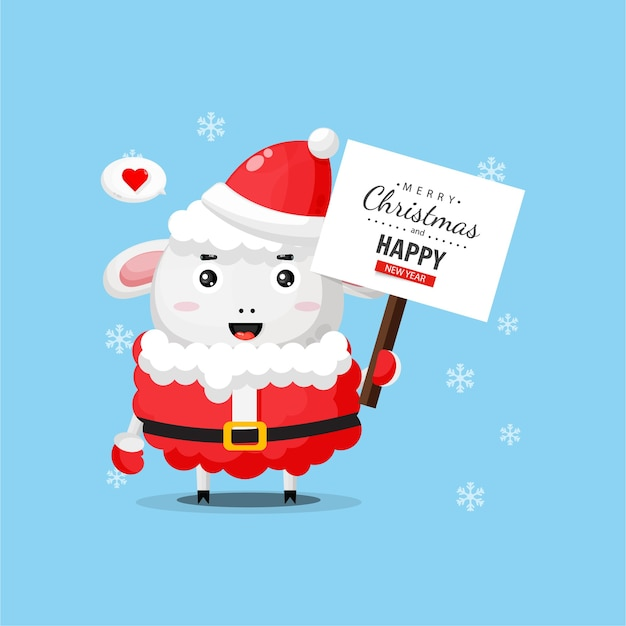 Милая овечка приносит доску для поздравлений с рождеством