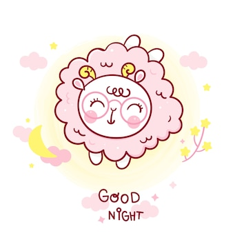 Cute sheep cartoon good night baby with moon
