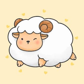 かわいい羊漫画手描きスタイル
