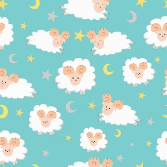 Cute sheep cartoon seamless pattern .