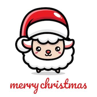 크리스마스를 축하하는 귀여운 양