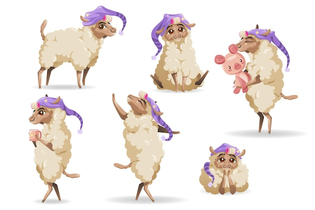 Cute sheep characters set