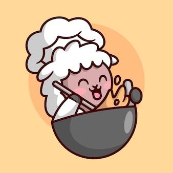 귀여운 양 셰프가 큰 팬으로 음식을 요리하고 있습니다. 고품질 만화 마스코트 로고