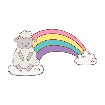 Cute sheep in the clouds with rainbow