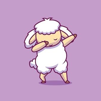 Симпатичные овцы, вытирая иллюстрации шаржа