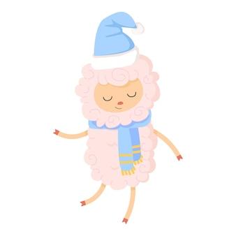 クリスマスの帽子とスカーフで踊るかわいい羊