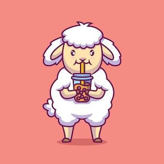 Симпатичные овцы пьют пузырьковый чай иллюстрации шаржа