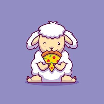 ピザ漫画イラストを食べるかわいい羊