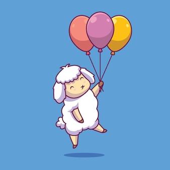 Симпатичные овцы, плавающие с шаром иллюстрации шаржа
