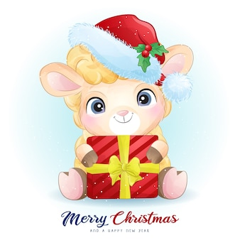 水彩イラストとクリスマスの日のかわいい羊