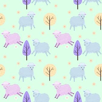 Cute sheep on green background seamless pattern