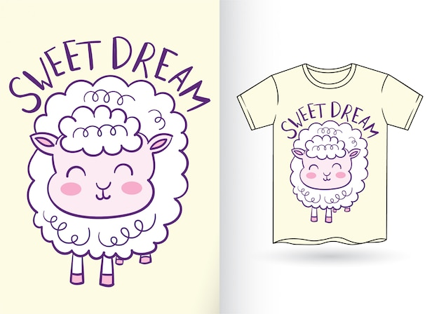 Cute sheep hand drawn for t shirt