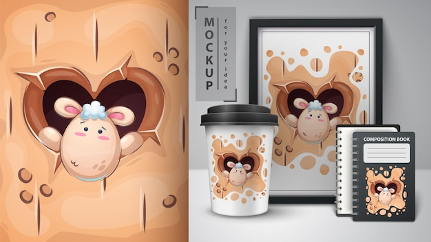 Cute sheep in heart hole merchandising