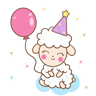 Cute sheep holding balloon