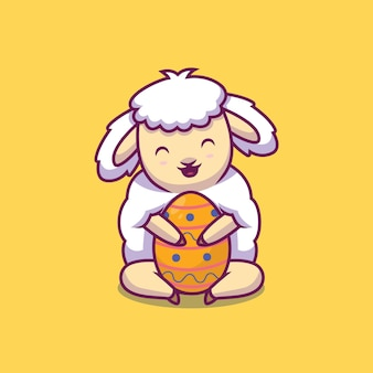 Cute sheep hug easter egg cartoon illustration