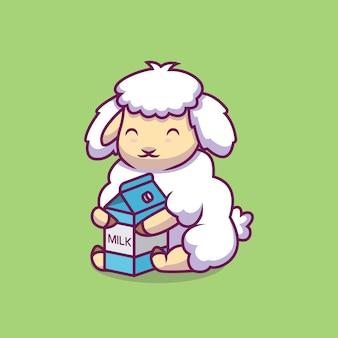 Симпатичные овцы обнимают молоко иллюстрации шаржа