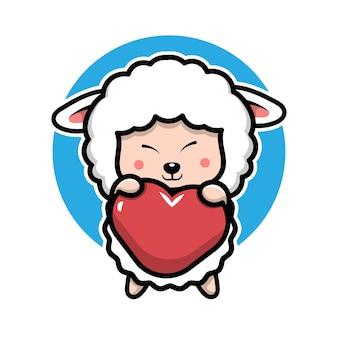 ハートの漫画のキャラクターの動物のコンセプトイラストを抱き締めるかわいい羊