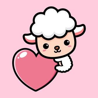 Милая овца обнимает сердце любви