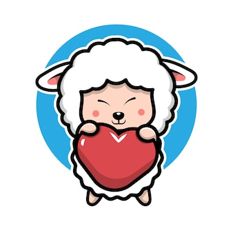 Cute sheep hugging a heart cartoon character  animal concept illustration