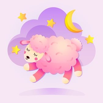 귀여운 양 그림. 어린이 제품 디자인을위한 구름 달과 별이있는 졸린 어린 양.