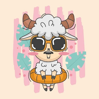 Милая иллюстрация овец с летним платьем